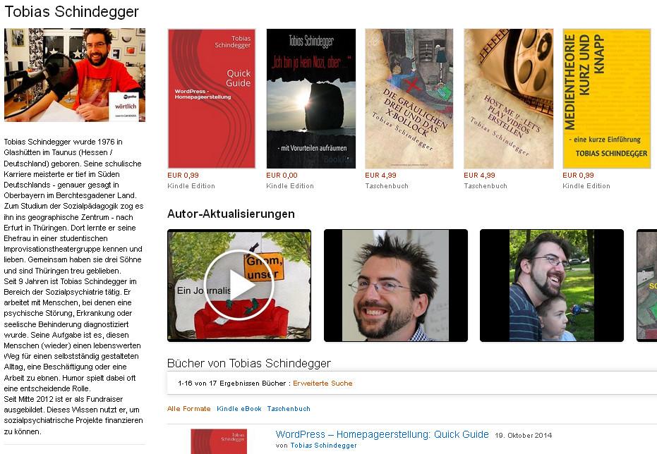 Amazon Autorenseite - Tobias Schindegger